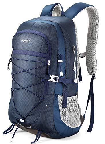 HOMIEE Bolsa de Trekking, Mochila de Nailon de 45L con Bolsillo para computadora portátil para Escalada Camping Montañismo Deporte al Aire Libre- Elegante Único Resistente al Agua Azul