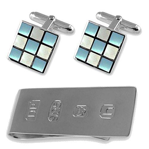 Select Gifts Sterling Silber Blau & Weiß Perlmutt Manschettenknöpfe James Bond Geld Clip Box Set