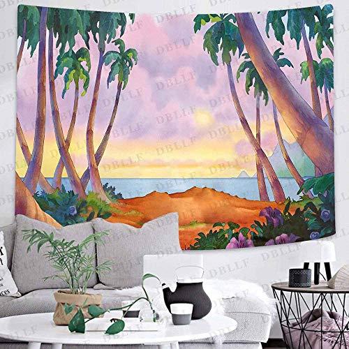 Tapiz de verano de bosque de plantas verdes, arte del bosque, para colgar en la pared, tapices para sala de estar, decoración del hogar