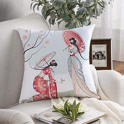 Housse de coussin décoratif carré motif abstrait deux design chinois Asie arbre ornement femmes Parasols personnes Nature printemps Vintage housse de coussin souple pour canapé de chambre à coucher