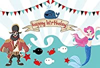 Amxxy 7x5ftの子供の誕生日の背景神話の女の子の海の下での誕生パーティーバナー海洋生物海賊と人魚のテーマ写真の背景布写真スタジオの小道具