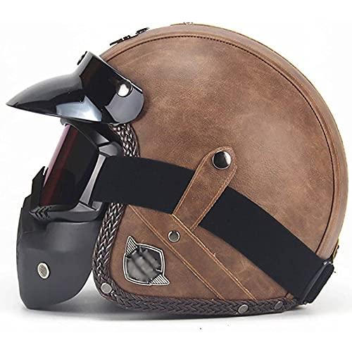 Half Helmet Retro Adult Jet Helmet,Vintage PU Leather Motorcycle Crash Helmet Chopper Cruiser ECE Certification with Visor Mask Goggles Motorcycle Half Helmet B,M57~58cm