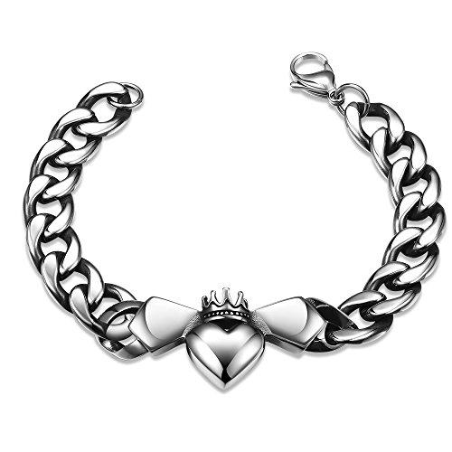 HAMANY Joyería Maya Acero Inoxidable Forma de Corazón Corona pulsera cadena de enlace para hombre