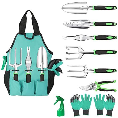 Aladom Gardening Tools Set 10 Pcs, Garden Tool Set Heavy Duty with Tools for Women