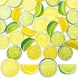 SNAIL GARDEN 30Pcs Artificial Lemon Slices Blocks, 20Pcs Simulation Lemon Slice+10Pcs Fake Lemon Block-Double Side Decorative Fake Fruit Model for Party Kitchen Wedding Decoration Kid Cognitive Toys