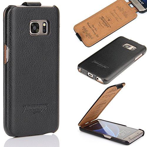 Twoways Handyhülle Samsung Galaxy S7 - perfekt passender Rundumschutz aus Leder für das Samsung Galaxy S7 - edle schlanke Design Handy Tasche Flip Case Schutzhülle - Schwarz