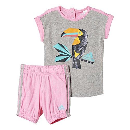 adidas Kinder Trainingsanzug I SU G GRPH Set, Rosa / Grau / Blau, 68, 4055344294604