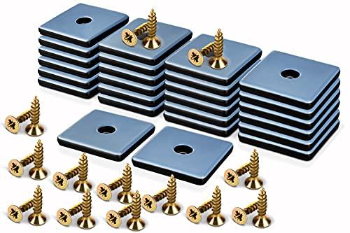 Filzada® 26x Teflongleiter zum Schrauben - 25 x 25 mm (eckig) - Möbelgleiter/Teppichgleiter PTFE (Teflon) inkl. Schrauben