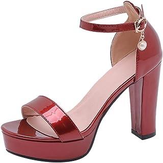 VulusValas Women Chunky Heel Sandals