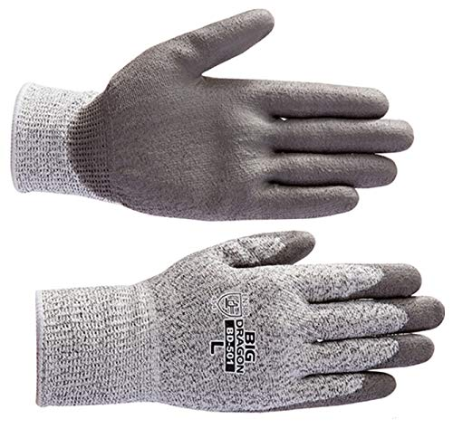 BD 501 ノンカットグリップ(10双) Lサイズ ガラスや刃物などの切裂きに強いPUコート手袋 プリカチューブ電線管のカット プリカナイフ作業 ヨーロッパCE規格(EN388) レベル5 防刃手袋 防護手袋