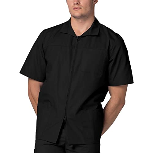 Adar Universal Mens Zippered Short Sleeve Scrub Jacket (Available in 8 solid colors)