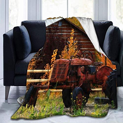 Manta de forro polar ultra suave para otoño, camarote rústico con tractor oxidado, casa de campo, casa de campo, colores de temporada y lealtad, manta de felpa para dormitorio sofá de 2014 x 152 cm
