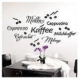 Grandora 1075W Tatuaggio a Muro caffè I Nero I Sala da Pranzo Autoadesivo Chicchi di caffè Cucina Autoadesivo da Muro Adesivi murali