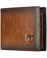 Wallets for Men Slim Bifold Vintage Genuine Leather Front Pocket Wallet with two ID Windows BKQB05 (BROWN)
