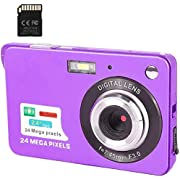 CamKing Digital Camera 1080P 2.4Inch LCD Touch Screen Digital Zoom Wide Angle Backpacking Rechargeable Mini Camera 24MP 4K Students Cameras Pocket Cameras Digital with Zoom Compact Student Cameras for Photography(Perple)