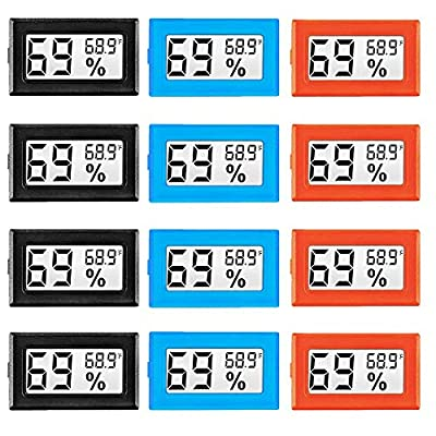 12 Pack Mini Digital Electronic Temperature Humidity Meters Gauge Indoor Thermometer Hygrometer LCD Display Fahrenheit (?) for Humidors, Greenhouse, Garden, Cellar, Fridge, Closet