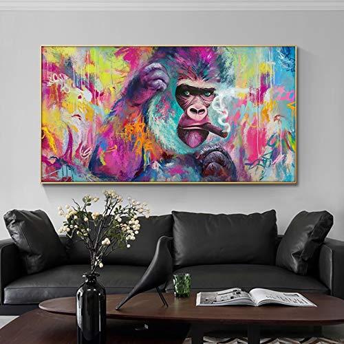 wZUN Pintura Impresiones de Animales diversión Fumar orangután Lienzo Pintura Mural Carteles y Grabado Mural decoración de la habitación 60x100 Sin Marco