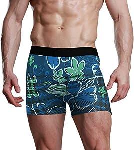 GOSMAO Fitted Boxer Bóxer Patrón de Flores Boxer Calzoncillos para Hombre,8,XL