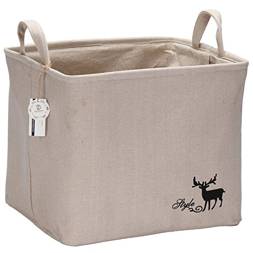 Sea Team Foldable Large Square New 100% Natural Linen & Cotton Fabric Storage Bin Storage Basket Organizer, Laundry Hamper for Blouse T-shirt Underwear etc.