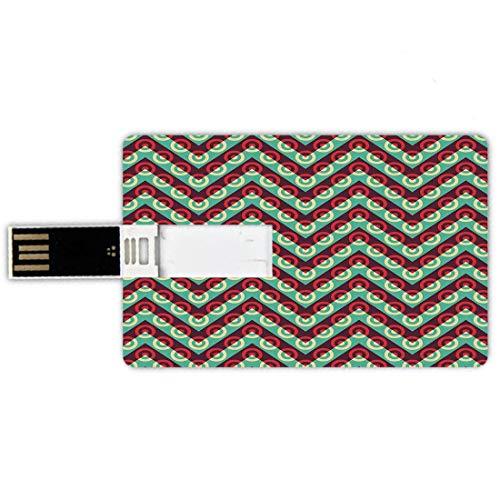 USB-Sticks 64GB Kreditkartenform Geometrische Kreis Dekor Memory Stick-Bankkartenstil 50er Jahre Pop Art dreieckige Streifen und Spiral Creolen Retro Poster Print,Maroon Teal Wasserdichte stift daumen