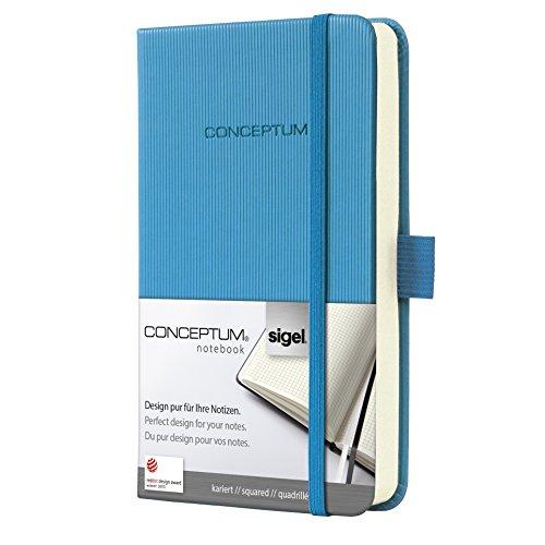 SIGEL CO568 Notizbuch, ca. A6, kariert, Hardcover, hellblau, Conceptum - viele Modelle