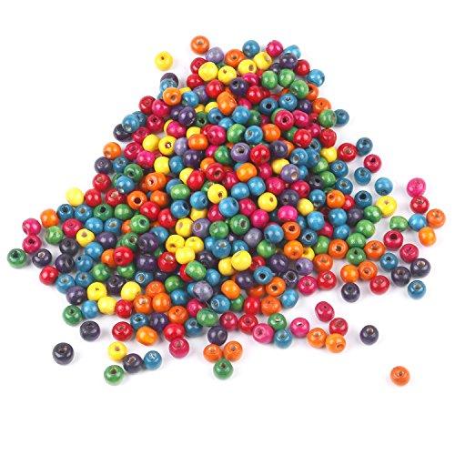 TRIXES 500 Perles Colorées Mélangées en Bois 7mm Bijoux Artisanat Collier Bracelet