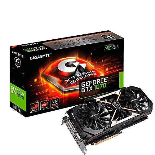 GIGABYTE GeForce GTX 1070 Xtreme Gaming Backplate 8GB GDDR5 PCI Express 3.0 x16 256bit ATX 2,5 Slot aktiv