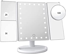 Makeup Mirror with 24 Leds Vanity Lights with 1x/2x/3x/10x Magnifying Portable Trifold Makeup Mirror with Touch Screen 180...
