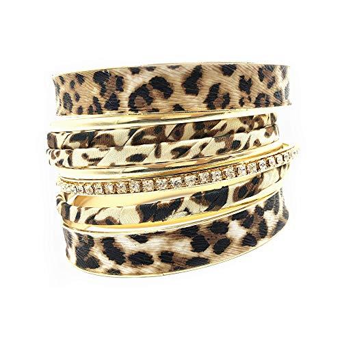 PUOSUO Leopard Bangle Bracelets for Women - Multi...