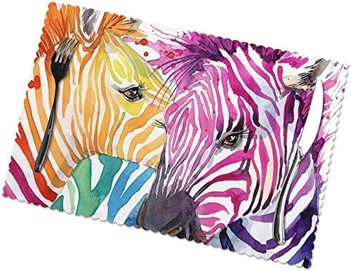 Regenbogen-Zebra-Tischsets, 4er-Set, leicht zu reinigen, hitzebeständig, schmutzabweisende Tischsets aus...