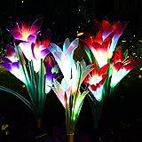 Luces LED solares con diseño de lirio de lirio, 3 unidades, 12 cabezas, 7 colores que cambian de...