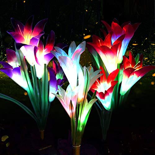 Luces LED solares con diseño de lirio de lirio, 3 unidades, 12 cabezas, 7 colores que cambian de color, para exteriores, jardín, patio, camino, decoración de fiesta (blanco morado y rosa)