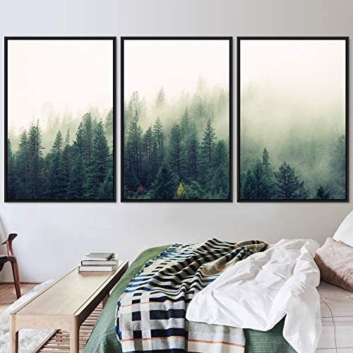 SIGNWIN 3 Piece Framed Canvas Wall Art Green Foggy Mountains Nature Wilderness Photography Abstract product image