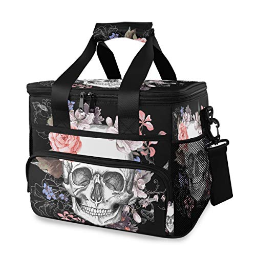Mr.XZY Lunch Cooler Bag Skull Flowers Leakproof Reusable Picnic Insulated Box Painting Mexican Day of The Dead Horror Packit Freezable for Adult Kid School 2010076