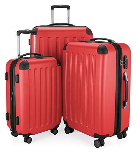 HAUPTSTADTKOFFER - Spree - 3er Koffer-Set Trolley-Set Rollkoffer Reisekoffer Erweiterbar, TSA, 4 Rollen, (S, M & L), Rot