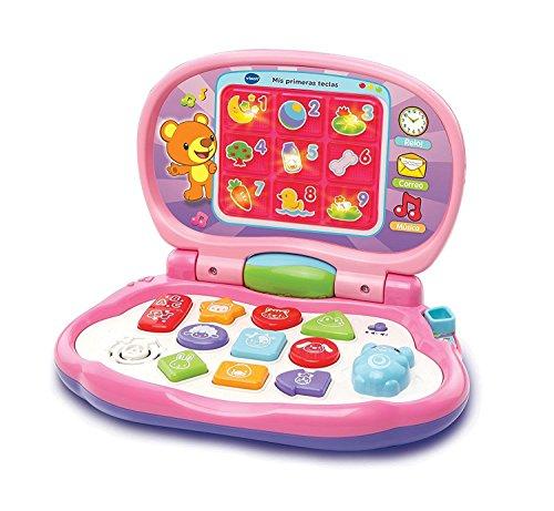 VTech-Mis primeras Teclas Ordenador infantil con tres modos de juegos que enseña animales, colores, formas y notas...