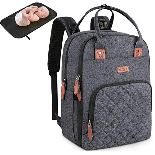 Baby Wickelrucksack Multifunktional Wickeltasche Rucksack mit Wickelunterlage Große Kapazität babytasche wickeltasche Reisetasche für Unterwegs Passform für Kinderwage Grau