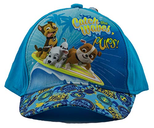 PAW PATROL Hunde Chase, Marshall und Rubble Catch The Waves Pups Kappe, Baseball Cap, Schirmmütze für Kinder, Mädchen und Jungen, aus 100% Baumwolle, mit Klettverschluss (Türkis, 54)