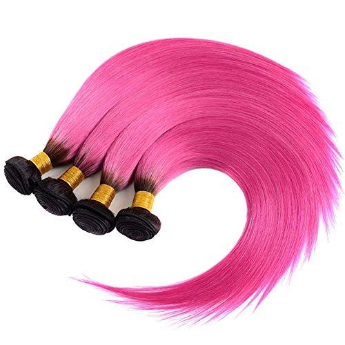 100% Echthaarverlängerungen Unverarbeitetes Reines Peruanisches Haar # 1B / Rosa Omber Echthaar Schuss Slik Gerade Haarwebart 1 Bundle 100g, 20 '