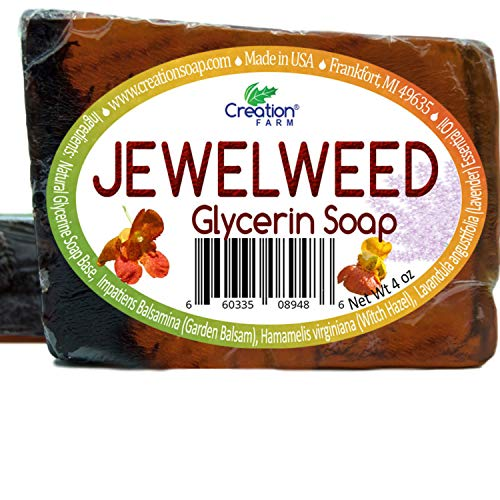 Creation Farm Jewelweed Hand Made Soap 2 Bars (8oz total) Stop the Itch, Jewel Weed Herb Instantly removes Poison Ivy, Oak, Sumac from Skin and Clothing, Quickly Soothes Rash, Itching, and Redness