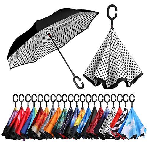 Amazon Brand - Eono Inverted Stockschirme, Winddicht Regenschirm, Reverse Stockschirme mit C Griff, Selbst Stehend, Double Layer, Schützen vor Sturm Wind, Regen und UV-Strahlung - Weißer Punkt
