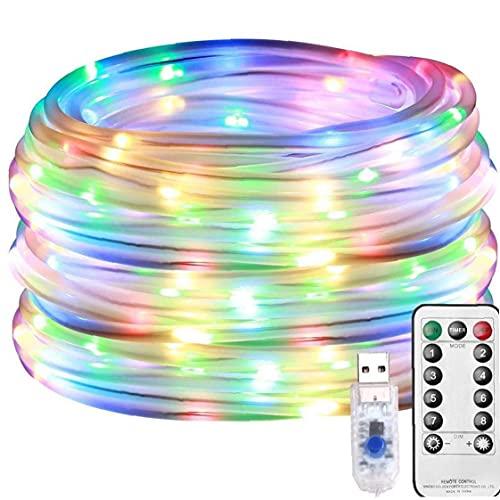 Hainice La Cuerda del LED Luces de Hadas Solar de la lámpara al Aire Decorativo Multicolor 100LED 8 Modos USB Tubo Enciende 12m