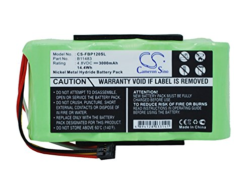 TECHTEK batería sustituye B11483, para BP120MH Compatible con [Fluke] Fluke 123 (Firmware Below V2.0), Fluke 123S (Firmware Below V2.0), Fluke 43 Power Quality Analyzers, Fluke 43B Power Quality