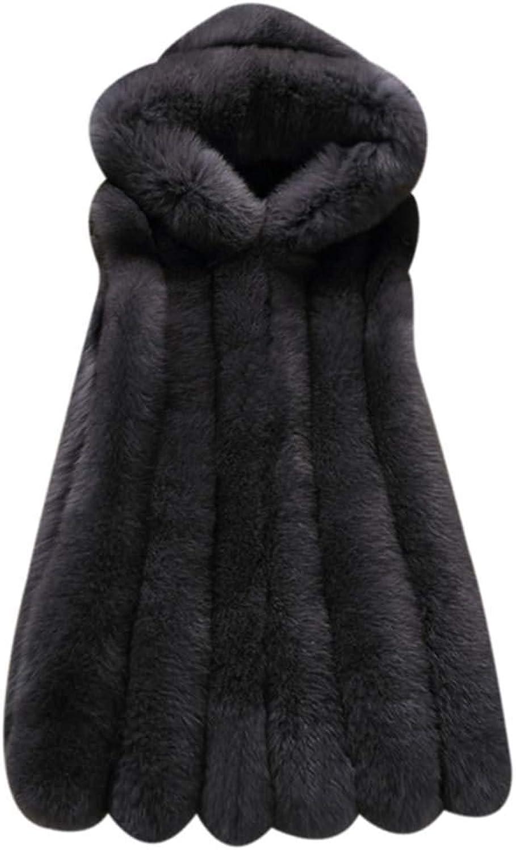 Bebogo Women Winter Gilet Faux Fur Vest Sleeveless Shrug Waistcoat Hoodie Coat Jacket