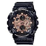 Men's Casio G-Shock Analog-Digital Rose Gold Dial Black Resin Strap Watch GA140GB-1A2