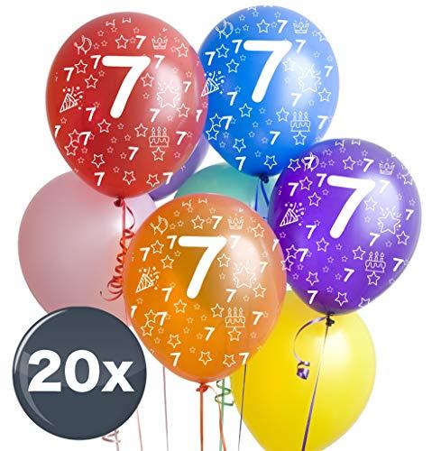 TK Gruppe Timo Klingler 10x Bunte Luftballons Zahl 7 - Ø 35 cm, Luft & Helium, Geburtstage, Party für Mädchen, Jungen, Zahlenballons, Zahlenluftballon Sieben (Zahl 7)
