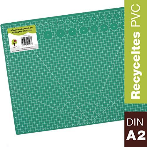 OfficeTree Schneidematte A2 selbstheilend - Grün - 60x45 cm - Cutting Mat mit beidseitigen Rastern und Markierungen für professionelle Schnitte - PVC 3-lagig recycelbar