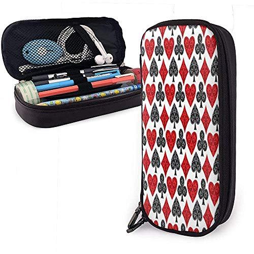 Achtergrondpatroon met speelkaartsymbolen Vector Afbeelding Lederen Potlood Case Grote Capaciteit Cosmetische Tas Pen Pouch