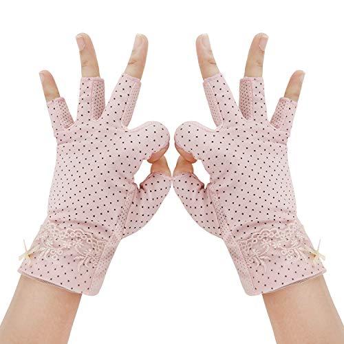 Guantes de verano para mujer, de algodón, guantes cortos, antideslizantes, protección UV, finos, protección solar, guantes para conducción, exterior, motocicleta, ciclismo (rosa)