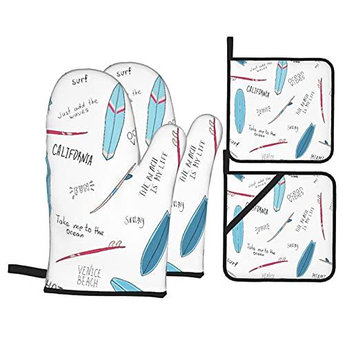 Tablas de Surf Azules con Las Palabras,Juegos de Manoplas para Horno y Porta Ollas,4Pcs Impermeable Guantes Almohadillas para Cocina Cocinar Hornear Barbacoa